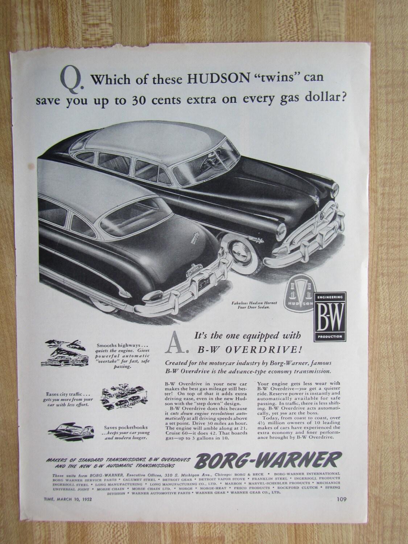 vintage 1952 HUDSON 2 door magazine ad advertisement