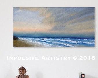 Cape Hatteras Island Sunrise, Outer Banks, OBX, North Carolina - Original Oil Seascape Painting: Blue, Orange, Brown