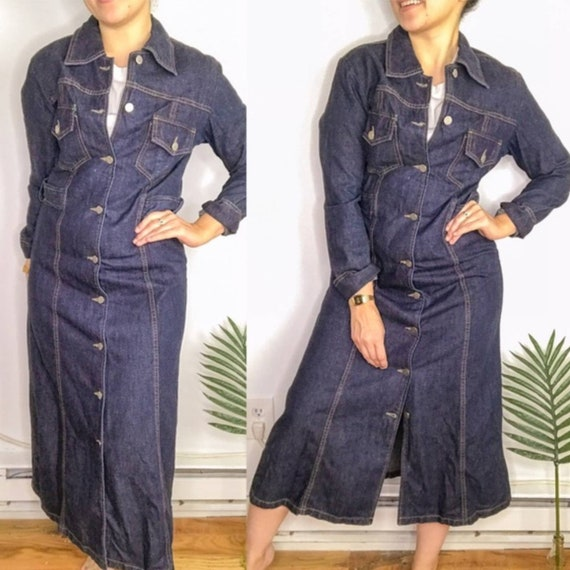 80s Dark Wash Denim Long Sleeve Midi Dress - image 2