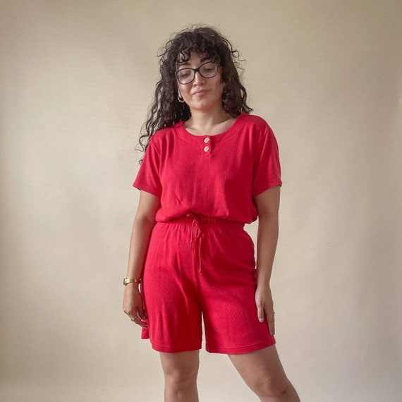 Vintage 90s Red Ribbed Cotton Lounge Set shorts