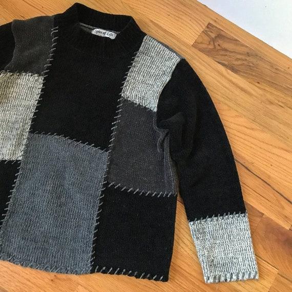 90s Vintage Chenille Patchwork Black Sweater Mock