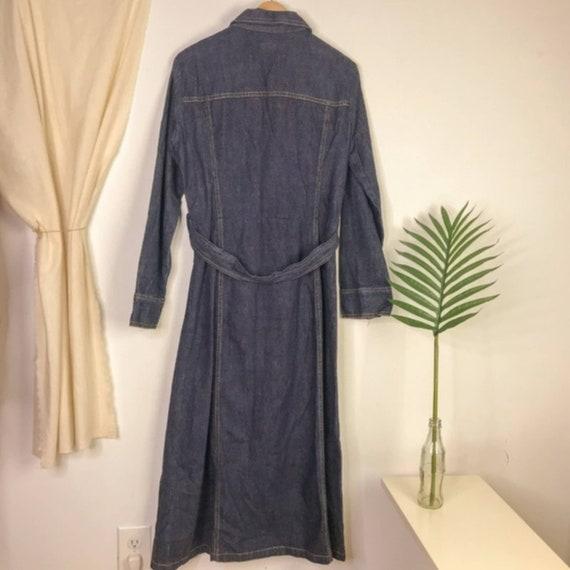80s Dark Wash Denim Long Sleeve Midi Dress - image 4