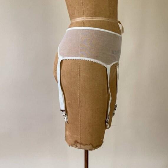 40s Vintage Hickory Ivory White Garter Belt Mesh - image 5
