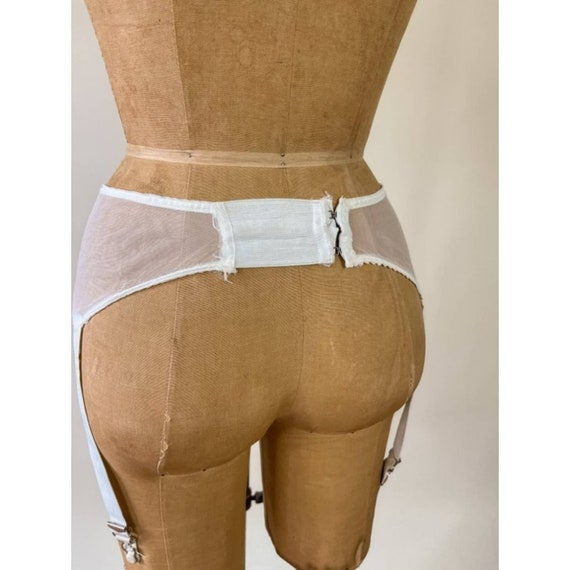 40s Vintage Hickory Ivory White Garter Belt Mesh - image 8
