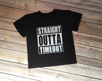 ec1d4c1ac Straight Outta Timeout Funny Kids T-Shirt - Funny Kids Shirt - Timout Tee -  Threenager Shirt - Toddler Gift