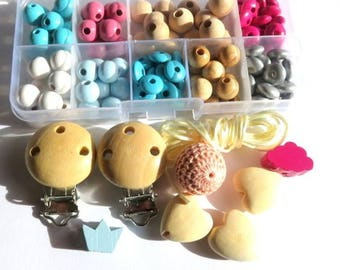 Box Starter pink, turquoise wooden beads.