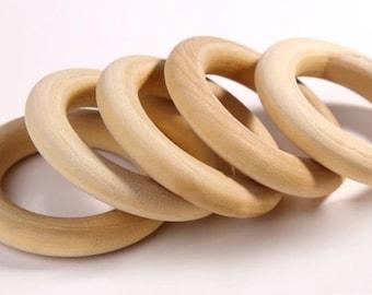 2 teething rings natural 70 mm maple wood