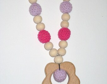 Babywearing necklace / nursing necklace raw wood and crocheted Pink Purple