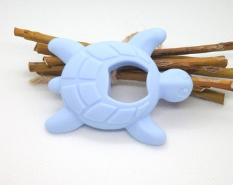 Blue turtle silicone teething ring
