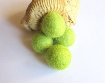 5 Apple green felted wool beads non-drilled 20 mm