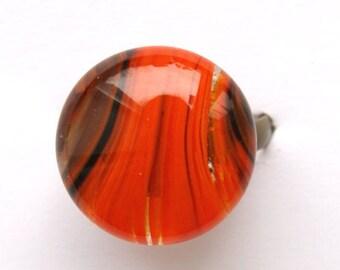 Orange-black ring with volume glass dome, Orange black glass ring, black Orange glass ring,