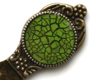 Bookmark painted in green, paperclip Gossamer, cracked bookmark, metal bookmark