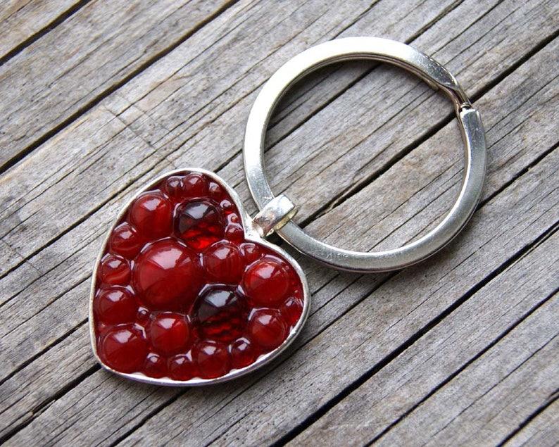 Modern Mosaic keyring Red heart glass keyring Gift for beloved keyring Red heart Micro Mosaic keyring keyring with heart