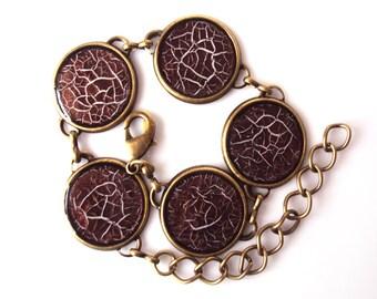 Antique brown Bracelet, handpainted brown gossamer, craquelure bracelet, cracked painted bangle, web paint bracelet