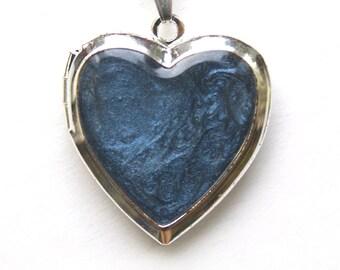 Blue locket, photo locket, picture medallion, picture locket, dark blue medallion, heart locket, medallion heart, dark blue pendant,