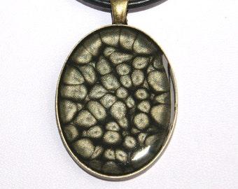 Grey-black hand painted pendant, black resin pendants, black handpainted pendant