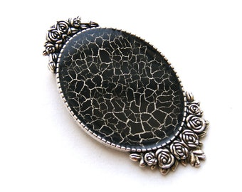 Brooch with black web, spider web brooch, black handpainted brooch, black craquelure brooches