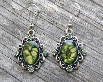 Green earrings encrusted with green strasses, green hand painted earrings, painted earrings