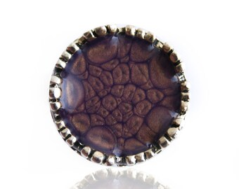 Purple handpainted ring, purple hand-painted ring, purple resin ring