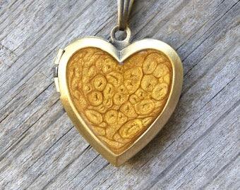 Golden heart hand painted locket - gift locket for Valentine - picture locket