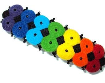 Hair clip Multicolor, rainbow Barrettes & Clips, felt hair clips, Multi-Color hair clip, Hair Accessories,