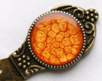 Orange metal bookmark | orange paperclip | orange bookmark | student gifts | gift for him | handpainted bookmark | resin paperclip | gift