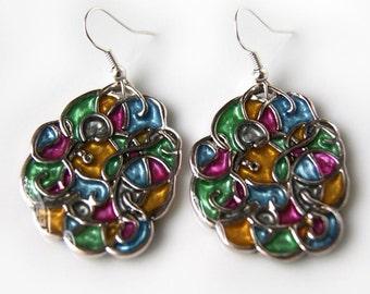 Multicolor vitreous earrings, handpaint earrings, multicolor earrings