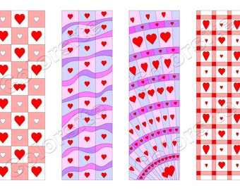 Printable Bookmarks, Download bookmark, Valentine Bookmarks download, Printable Heart bookmark, Ready to print bookmarks