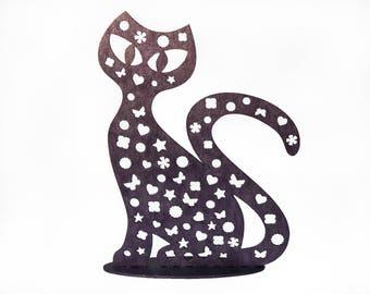 Purple jewelry cat stand for earrings, Purple Cat Hanger, Earring organizer, Earring storage, Earring stand, Jewelry display|Earring display
