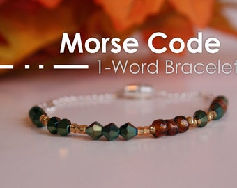 Bracelet - 1 Word | Custom Morse Code Jewelry | Wedding Jewellery | Bridesmaid Gifts | Teacher Gifts | Personalized Gifts for Her