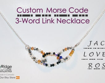 Link Necklace - 3 Word | Custom Morse Code Jewelry | Wedding Jewellery | Bridesmaid Gifts | Teacher Gifts | Personalized Gifts for Her