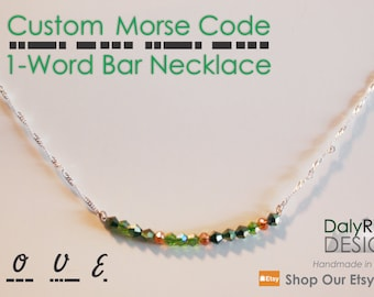 Bar Necklace - 1 Word | Custom Morse Code Jewelry | Wedding Jewellery | Bridesmaid Gifts | Teacher Gifts | Personalized Gifts for Her