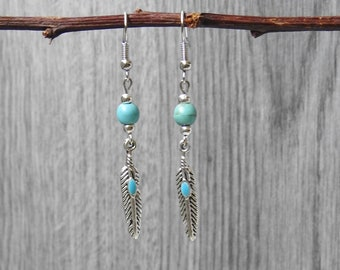 Turquoise Feather Earrings - Western Feather Earrings - Boho Feather Earrings - Feather Dangle Earrings - Silver Feather Earrings