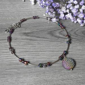 PURPLE GLASS PENDANT Necklace Jewelry Jewellery Fantasy Fashion Folk Metal Goth Rock