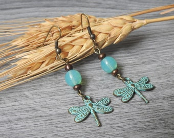 Dragonfly Charm Earrings - Patina Dragonfly Earrings - Patina Dangle Earrings - Verdigris Dragonfly Earrings - Dragonfly Earrings