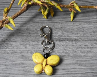 Yellow Butterfly Keychain - Butterfly Zipper Pull - Backpack Zipper Pull - Purse Pull - Phone Charm - Thank You Gift - Gift Under 10