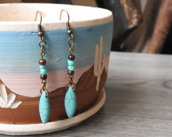 Turquoise Western Earrings - Turquoise Marquise Earrings - Turquoise Cowgirl Earrings - Marquise Dangle Earrings - Turquoise Boho Earrings