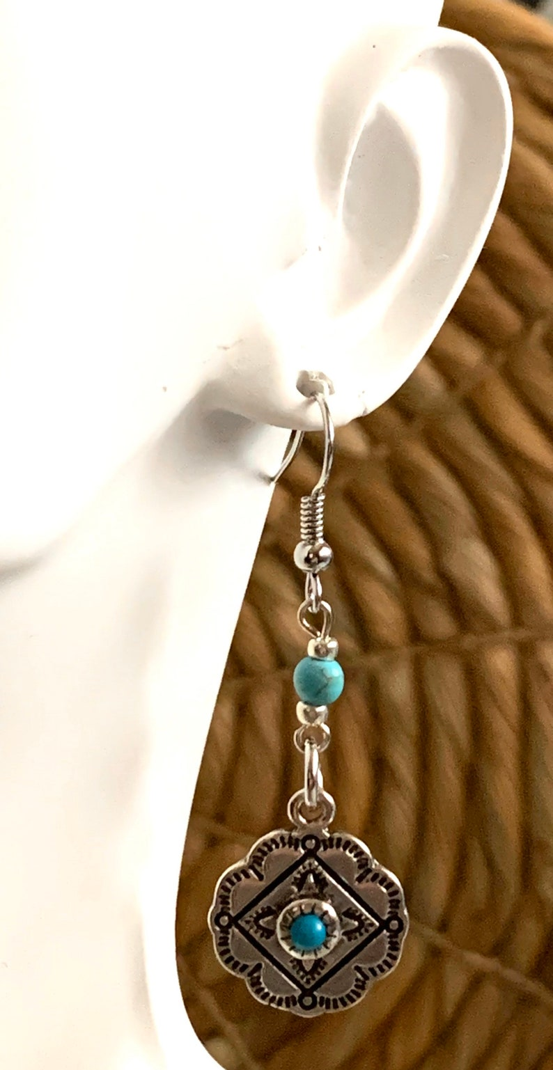 Western Jewelry Silver Concho Dangle Earrings Cowgirl Jewelry
