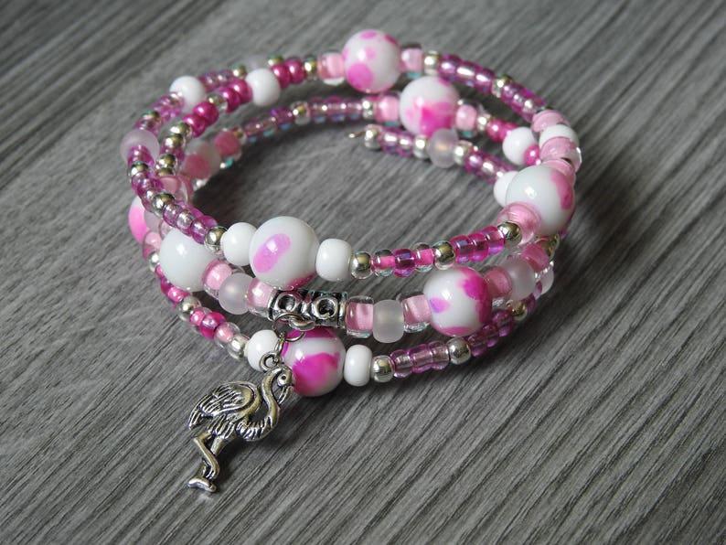5bede068891e Pink Flamingo Bracelet Tropical Jewelry Flamingo Charm