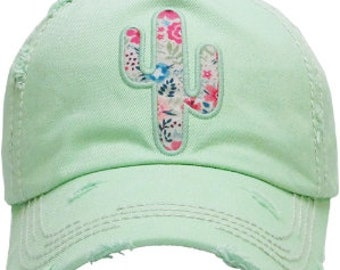 f1cce2ca403 Floral Cactus Distressed Mint Hat