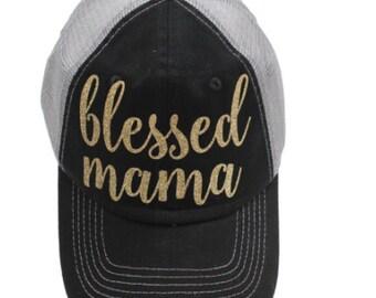 Blessed Mama Black Mesh Back Gold Glitter Hat