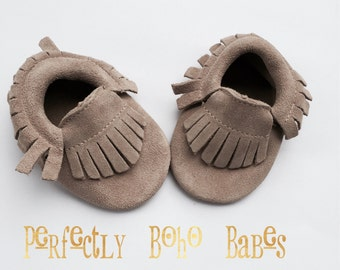 Natural Baby Suede Leather Moccasins