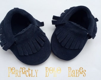 Navy Blue Baby Suede Leather Moccasins