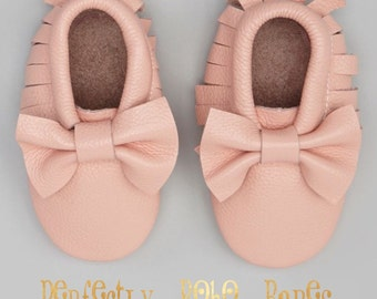 Pink Blush Baby Leather Moccasins with Bows