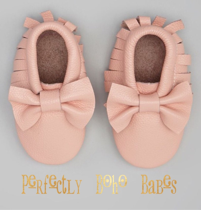 345423d5ddbc9 Pink Blush Baby Leather Moccasins with Bows