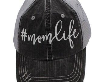 Mom Life White Grey Distressed Hat #MomLife