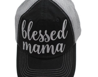 Blessed Mama Black Mesh Back Silver Glitter Hat
