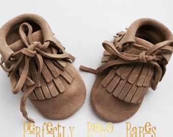 Natural Baby Suede Leather Moccasin Booties