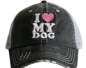 I Love My Dog Grey Distressed Hat