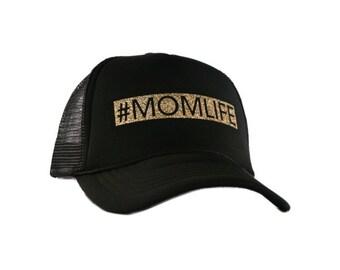 Mom Life Black Mesh Back Gold Glitter Hat #MomLife